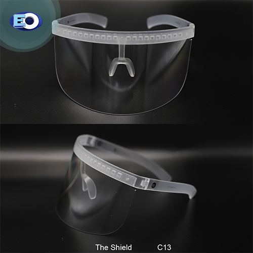 EO The Shield Protective Glasses (Clear Lens with L. Silver Revo C13) trendy face shield safe