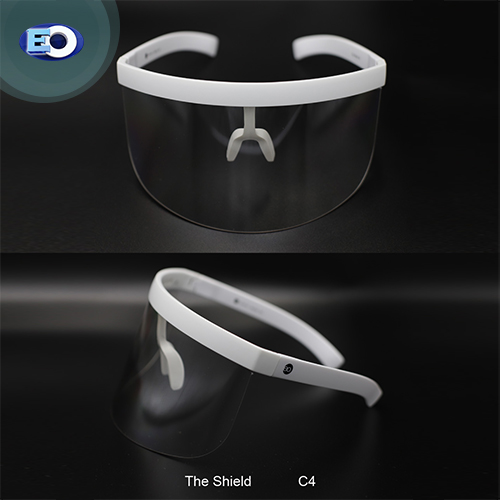 EO The Shield Protective Glasses (Clear Lens with L. Silver Revo C4) face shield for covid-19 safety