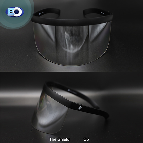 EO The Shield Protective Glasses (Clear Lens with Grad. Silver Revo C5) face shield for covid-19 safety