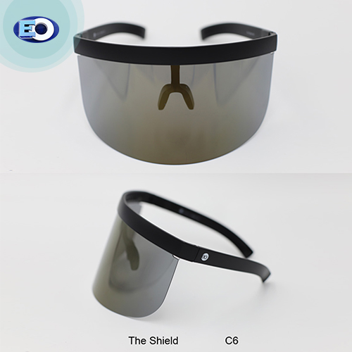 EO The Shield Protective Glasses with (Smoke Lens with L. Gold Revo C6) face shield for sale online